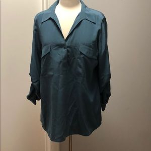 Eileen Fisher Classic Silk Camp Shirt in Teal